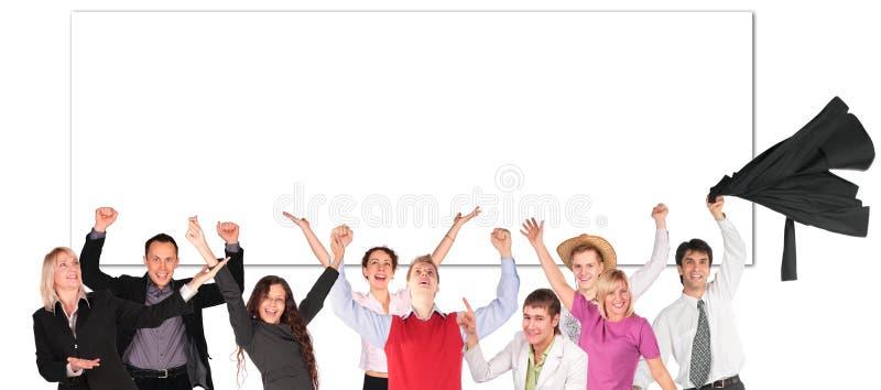 Os povos felizes com mãos levantam e embarcam para o texto imagem de stock