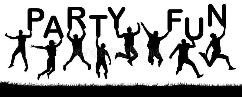 Os povos felizes que saltam, guardam as letras em suas mãos, o divertimento do partido da palavra ilustração do vetor
