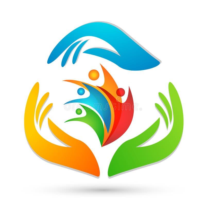 Os povos importam-se as mãos que ciao povos para salvar para proteger o vetor do elemento do ícone do logotipo do cuidado da famí ilustração do vetor