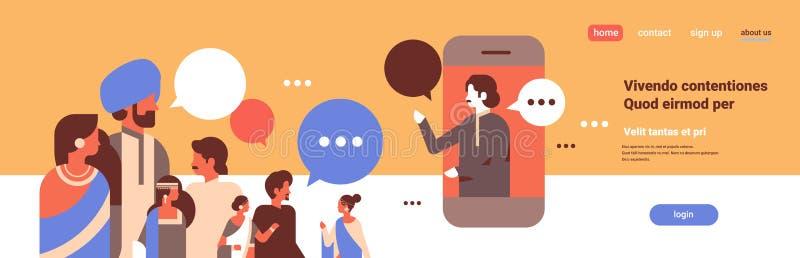 Os povos indianos conversam do diálogo móvel do discurso de uma comunicação da aplicação das bolhas o retrato indiano do personag ilustração royalty free