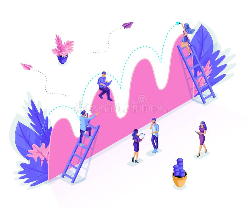 Os povos isom?tricos trabalham, promo??o do neg?cio, decolagem na escada da carreira, an?lise de dados e vista geral do infograph ilustração stock
