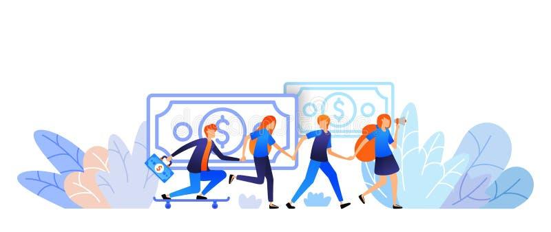 Os povos juntam-se às mãos e consultam-se um amigo para obter o dinheiro negócio do programa da referência do mercado do Internet ilustração stock