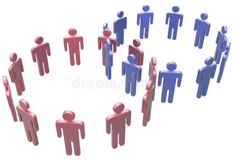 Os povos juntam-se a círculos do social dois da fusão ilustração stock
