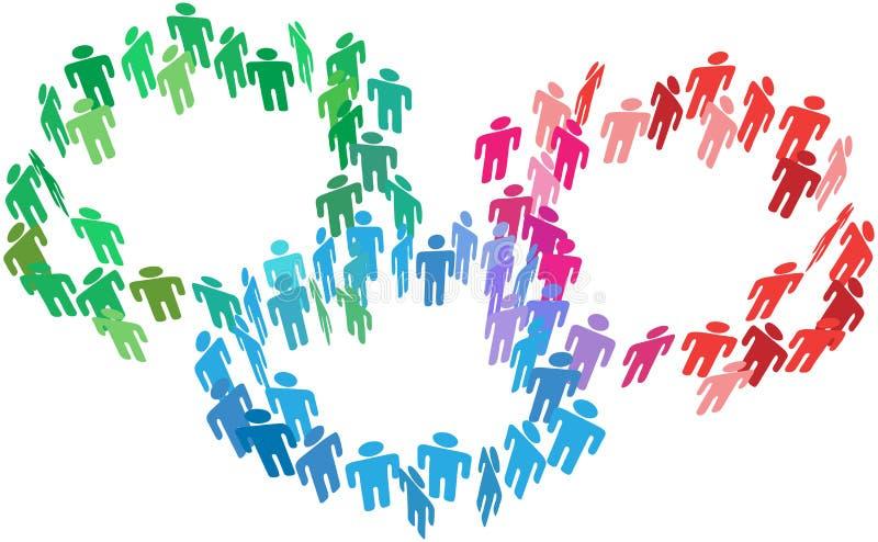 Os povos juntam-se a unidades de negócio do social da fusão ilustração do vetor