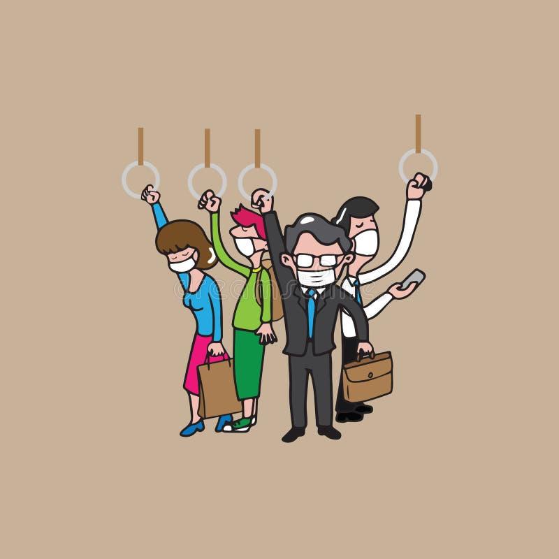 Os povos mascaram aglomerado ilustração royalty free