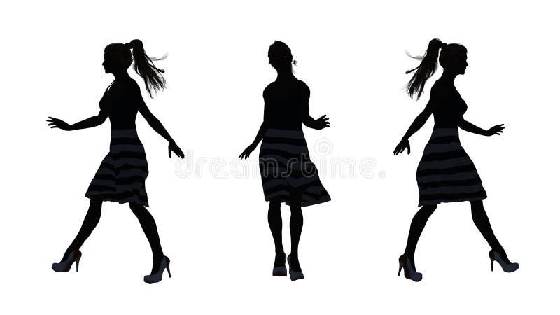 Os povos mostram em silhueta - a mulher anda ilustração royalty free
