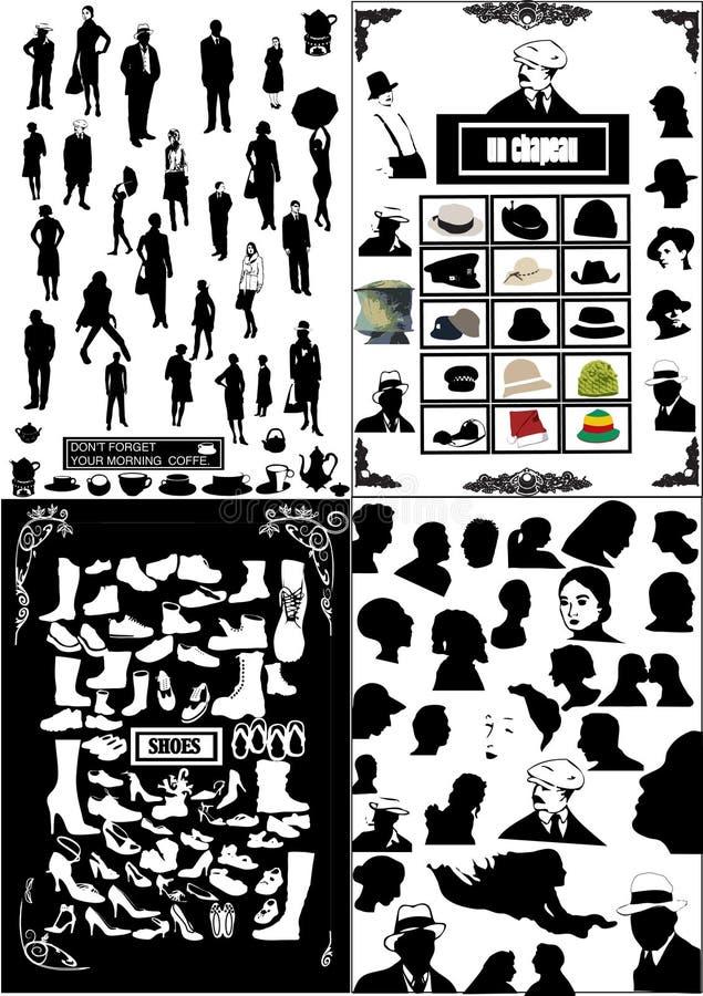Os povos mostram em silhueta, sapatas, cabeças ilustração royalty free
