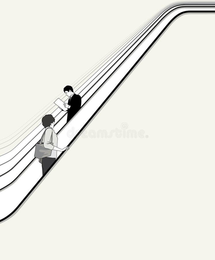 Os povos movem-se na escada rolante ilustração do vetor