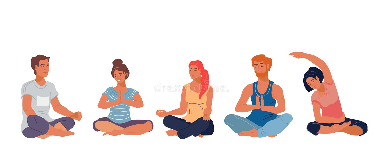 Os povos na pose dos lótus da meditação na ilustração lisa da classe da ioga isolaram-se ilustração royalty free