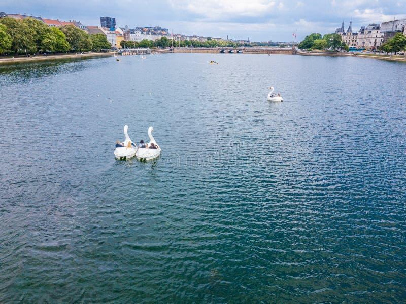 Os povos nadam nos barcos na forma de uma cisne Copenhaga, Dinamarca Vista aérea da parte superior obrigação popular do turista v fotografia de stock royalty free