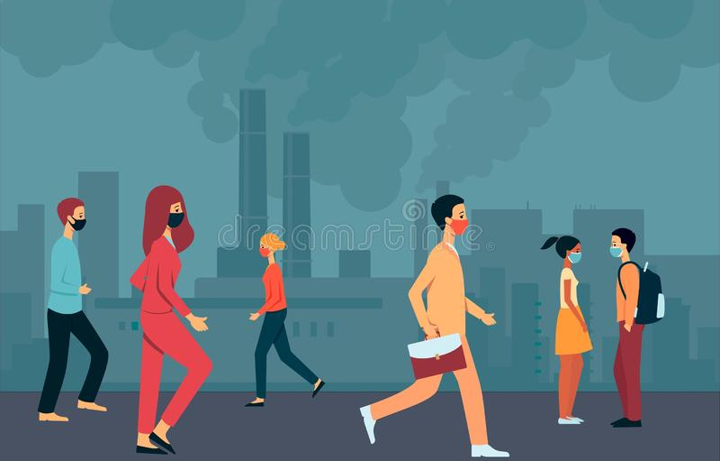Os povos nas máscaras andam através da cidade fumarento com poluição do ar e o ambiente ilustração royalty free