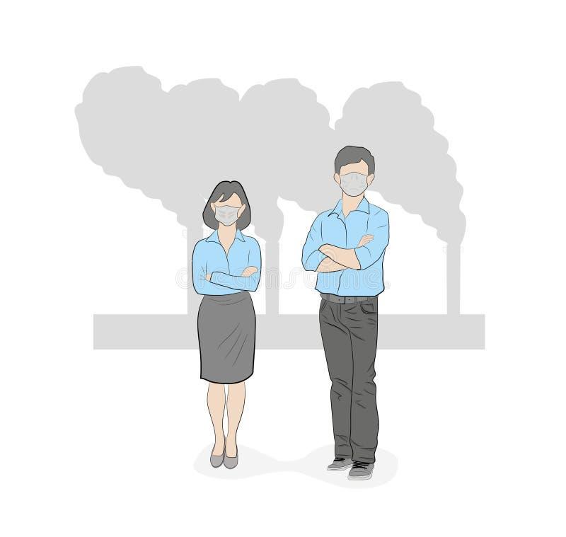 Os povos nas máscaras devido à garatuja tirada do vetor do estilo da poeira mão fina projetam ilustrações Poluição do ar Ilustraç ilustração do vetor