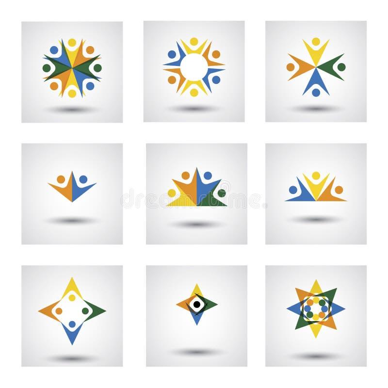 Os povos no círculo, a comunidade ou a equipe das crianças, empregados vector o CI ilustração stock