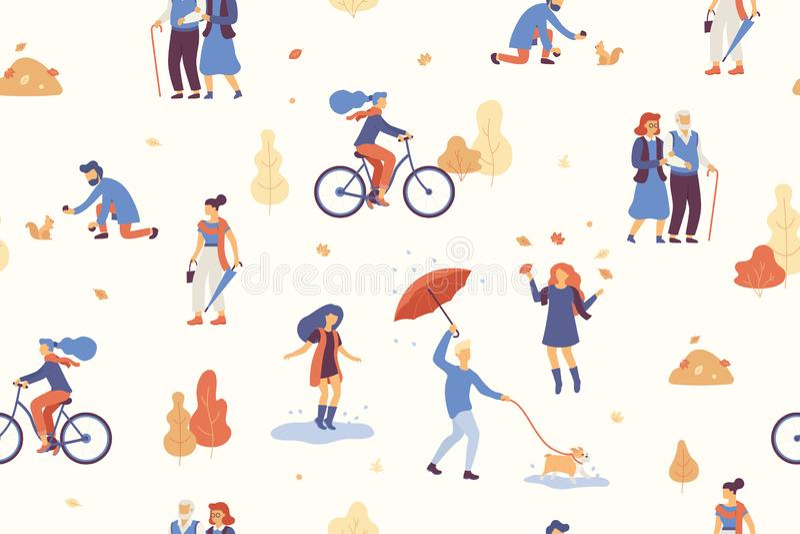 Os povos no outono estacionam ter o divertimento, andando o cão, bicicleta de montada, saltando na poça, jogando com folhas de ou ilustração stock