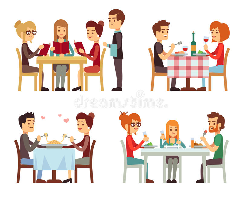 Os povos no restaurante que comem o jantar vector conceitos lisos ilustração royalty free
