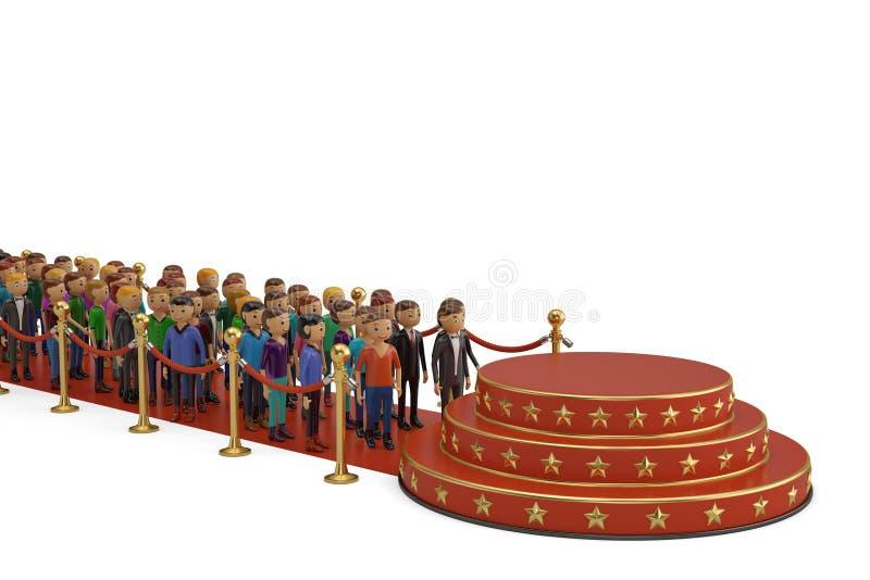 Os povos no tapete vermelho e no pódio redondo vermelho com barreira rope 3d ilustração do vetor