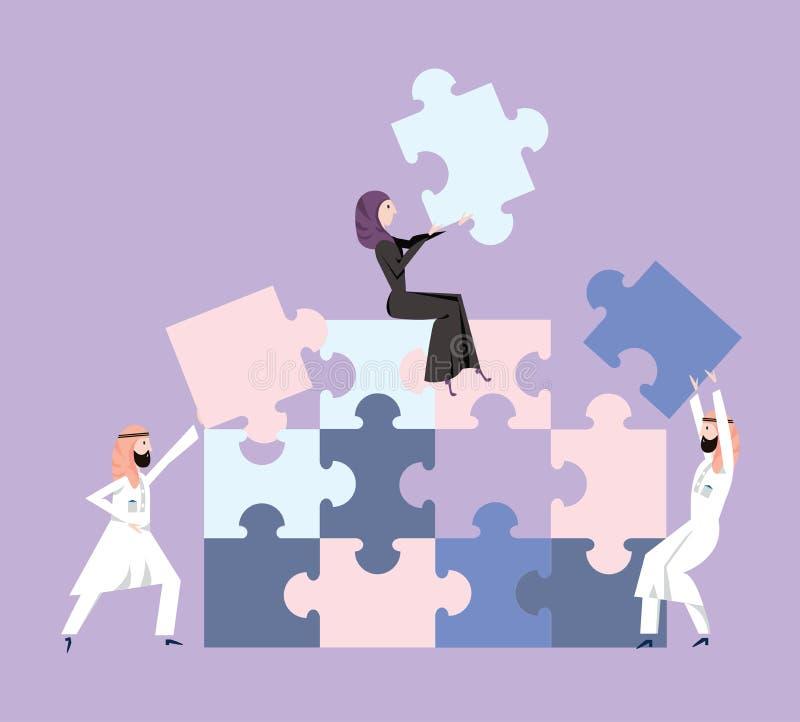 Os povos no vestido nacional árabe recolhem o enigma Conceito do negócio dos trabalhos de equipa e de teambuilding Ilustração do  ilustração do vetor