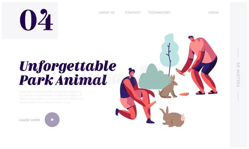 Os povos passam o tempo no jardim zoológico exterior, comunicando-se e jogando com animais selvagens, coelhos de alimentação, laz ilustração stock