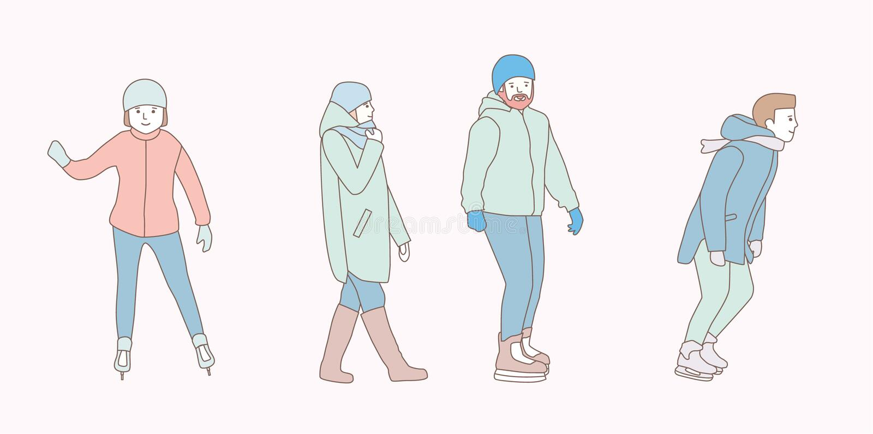 Os povos patinam na pista de gelo no parque no inverno Homens, mulher, par ilustrações tiradas mão do projeto da garatuja do veto ilustração stock