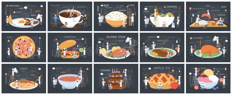 Os povos pequenos no uniforme e no chap?u do cozinheiro chefe cozinham o alimento gigante ilustração do vetor
