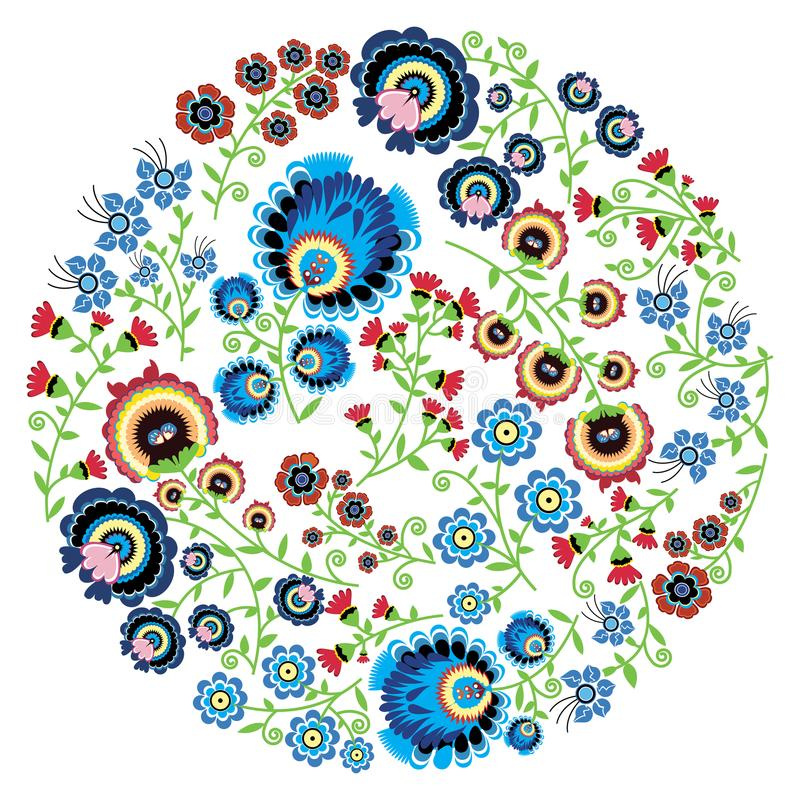 Os povos poloneses coloridos inspiraram o teste padrão floral tradicional na forma da Lua cheia ilustração do vetor