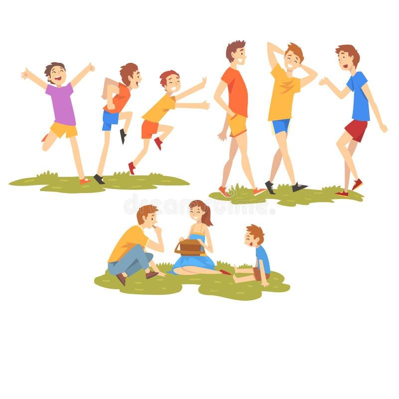 Os povos que apreciam férias de verão ajustaram-se, os meninos felizes que têm o ar livre do divertimento, família que descansa n ilustração stock