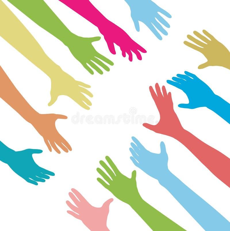 Os povos que as mãos alcangam para fora através de unem-se conectam ilustração do vetor