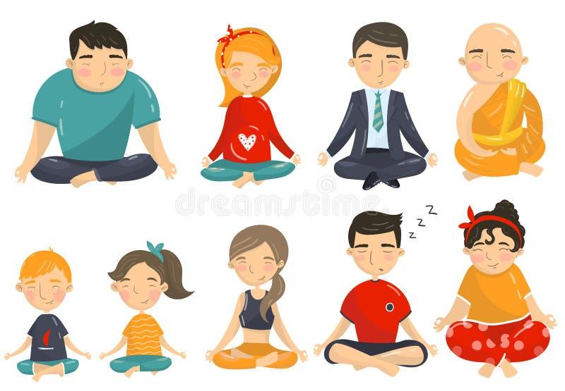 Os povos que meditam e que relaxam no grupo, nos homens, nas mulheres e nas crianças da posição de lótus da ioga fazendo desenhos ilustração do vetor