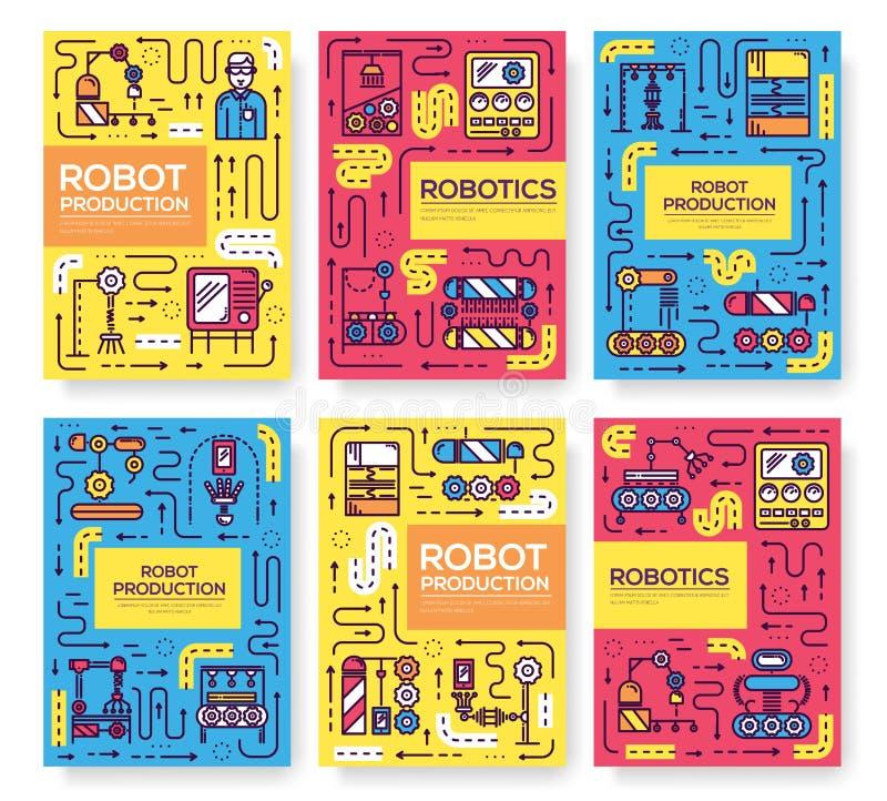 Os povos que trabalham no conjunto dos robôs alinham finamente o grupo Molde linear de flyear, compartimentos da produção robótic ilustração stock