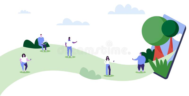 Os povos que usam dispositivos misturam o passeio das mulheres dos homens da raça exterior tendo o smartphone do conceito do apeg ilustração royalty free