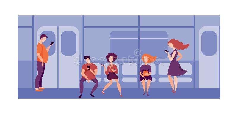 Os povos que usam o smartphone transportam em público no trem Povos que viajam no metro ilustração do vetor