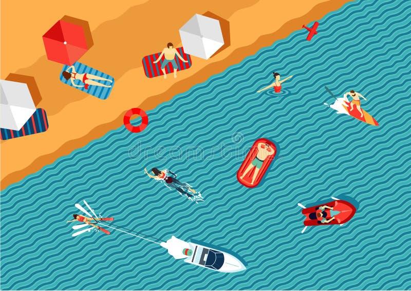 Os povos relaxam na praia e na natação no mar Vista superior Estilo liso ilustração do vetor
