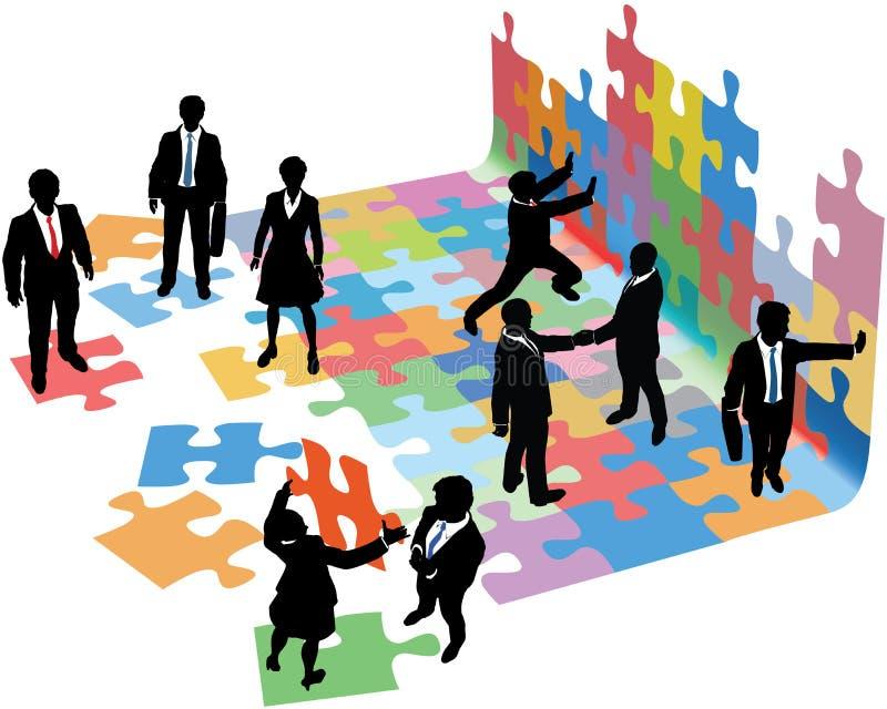 Os povos resolvem problemas para construir a partida de negócio ilustração do vetor
