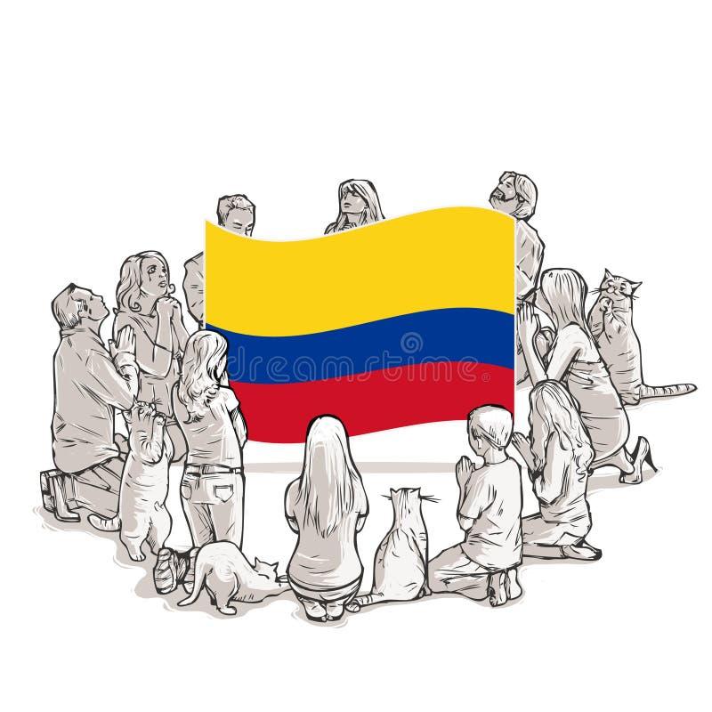 Os povos rezam para Colômbia ilustração stock