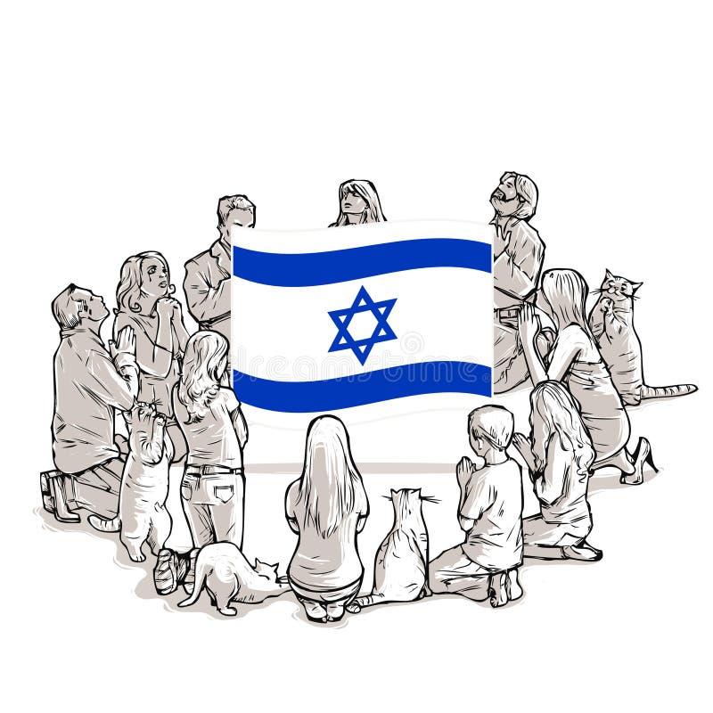 Os povos rezam para Israel ilustração do vetor