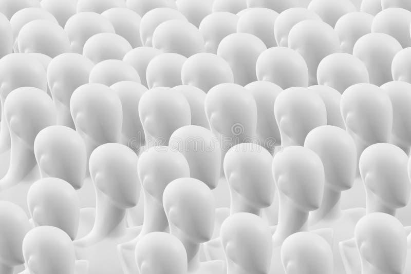 Os povos são manequins Manequins sem olhos O conceito da sociedade humana imagens de stock