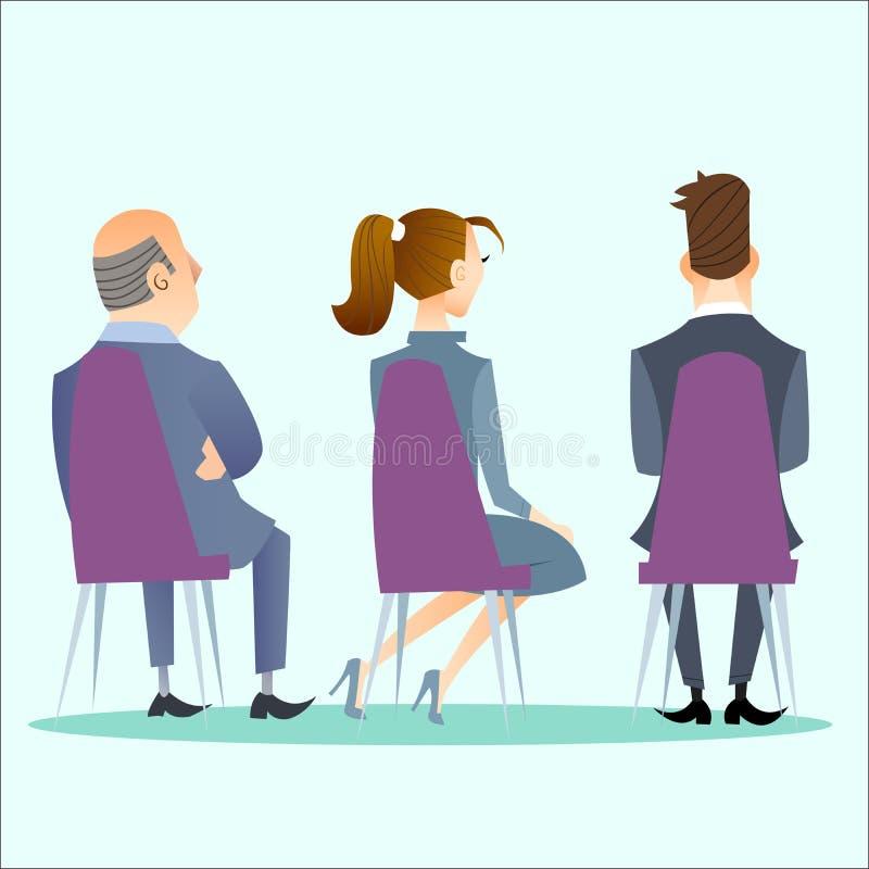 Os povos sentam-se para trás na conferência, concerto ilustração do vetor