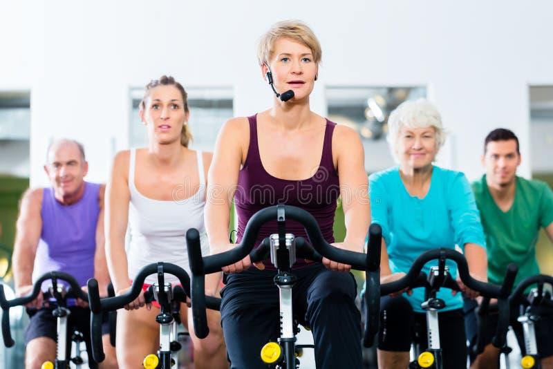Os povos superiores no gym que gira na aptidão bike imagem de stock royalty free