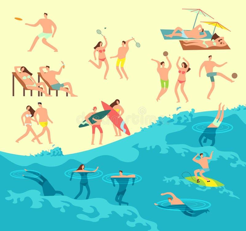 Os povos tomando sol, do jogo e nadar na praia do verão vector a ilustração ilustração stock