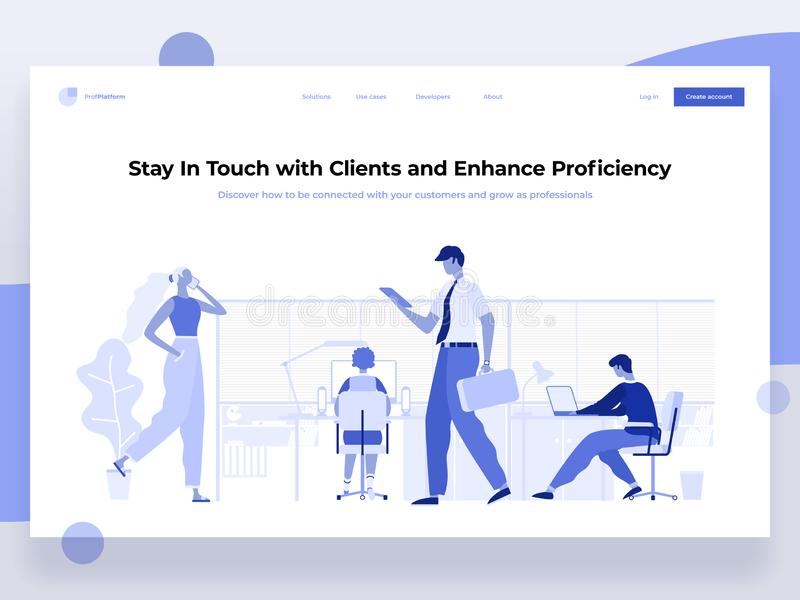 Os povos trabalham em um escritório e interagem com os dispositivos diferentes Negócio, gestão dos trabalhos e situações do escri ilustração do vetor