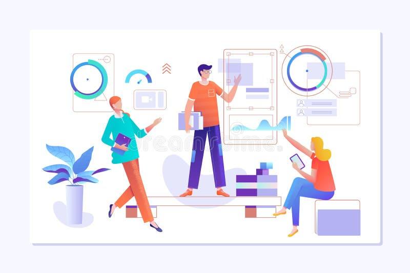 Os povos trabalham em uma equipe e interagem com os gráficos Negócio, gestão dos trabalhos e situações do escritório Página da at ilustração stock