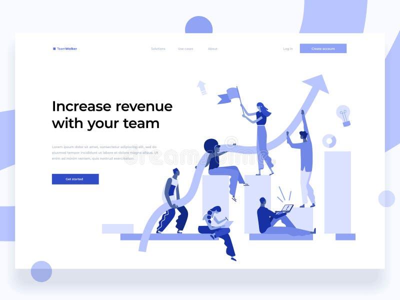 Os povos trabalham em uma equipe e interagem com os gráficos Negócio, liderança, gestão dos trabalhos e situações do escritório a ilustração royalty free