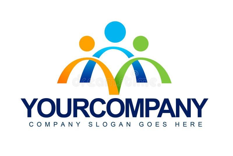 Os povos unem o logotipo do conceito ilustração stock
