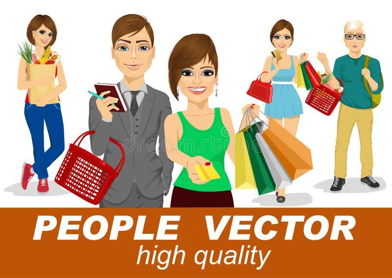 Os povos vector com povos da compra ilustração stock