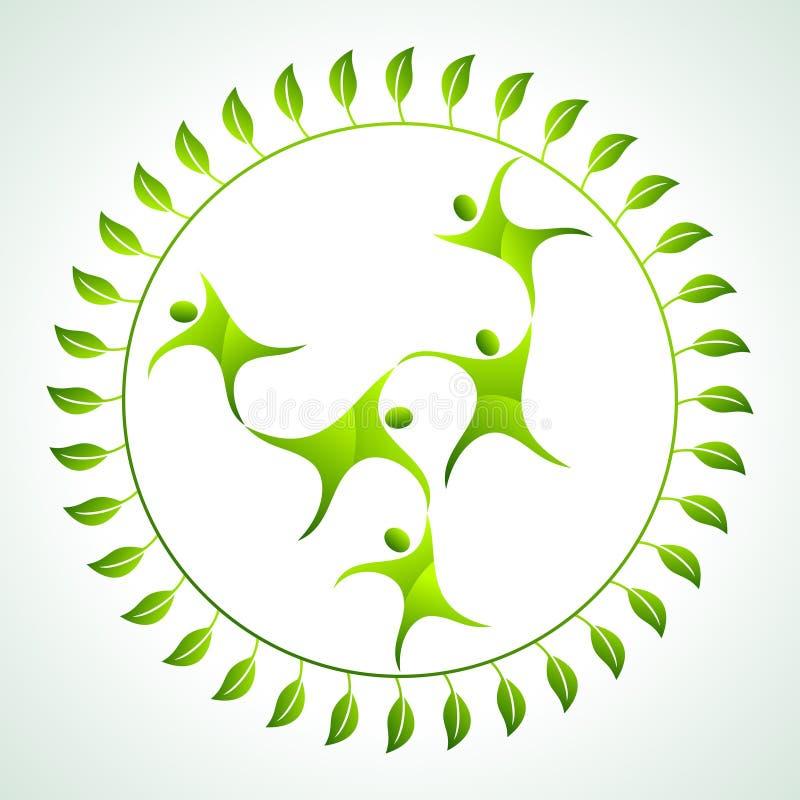 Os povos verdes voam no grupo ilustração stock