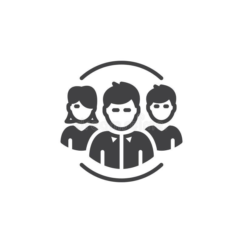 Os povos, vetor do ícone da equipe, encheram o sinal liso, pictograma contínuo isolado no branco ilustração do vetor