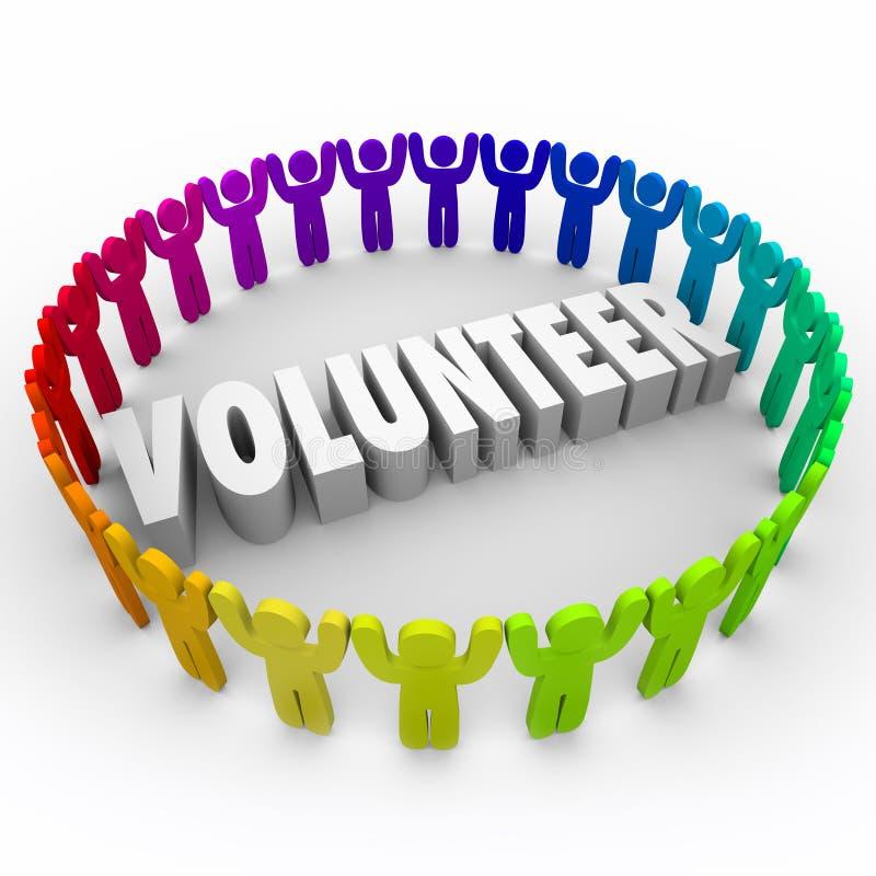 Os povos voluntários na palavra de Ring Around 3d doam o tempo ilustração do vetor