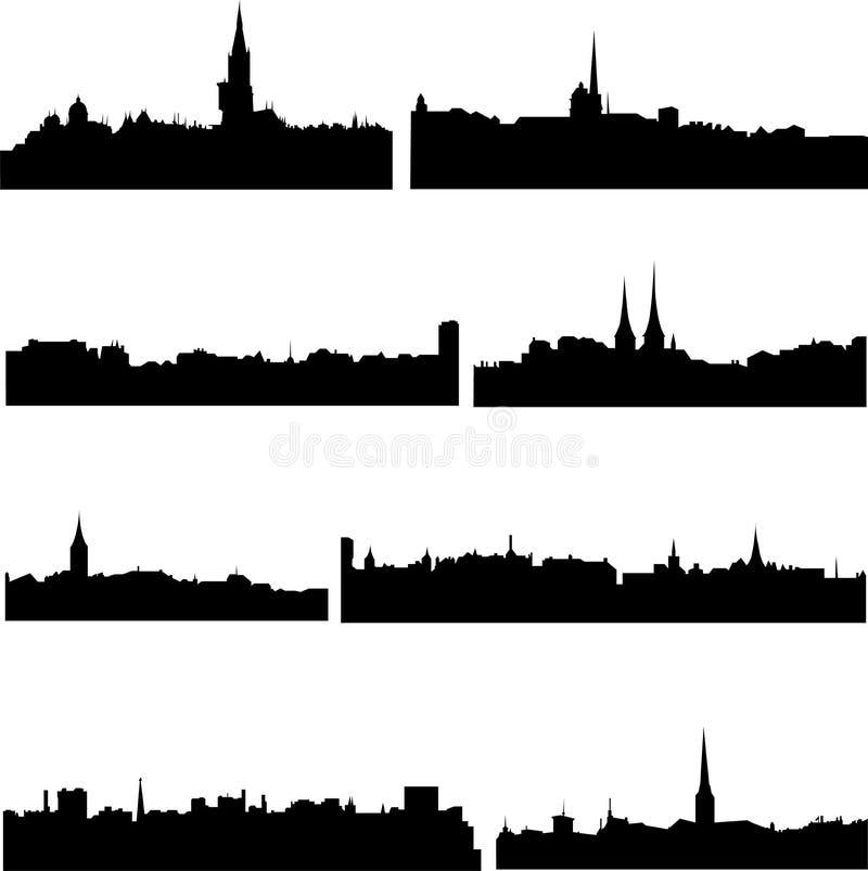 Os prédios em Switzerland ilustração do vetor