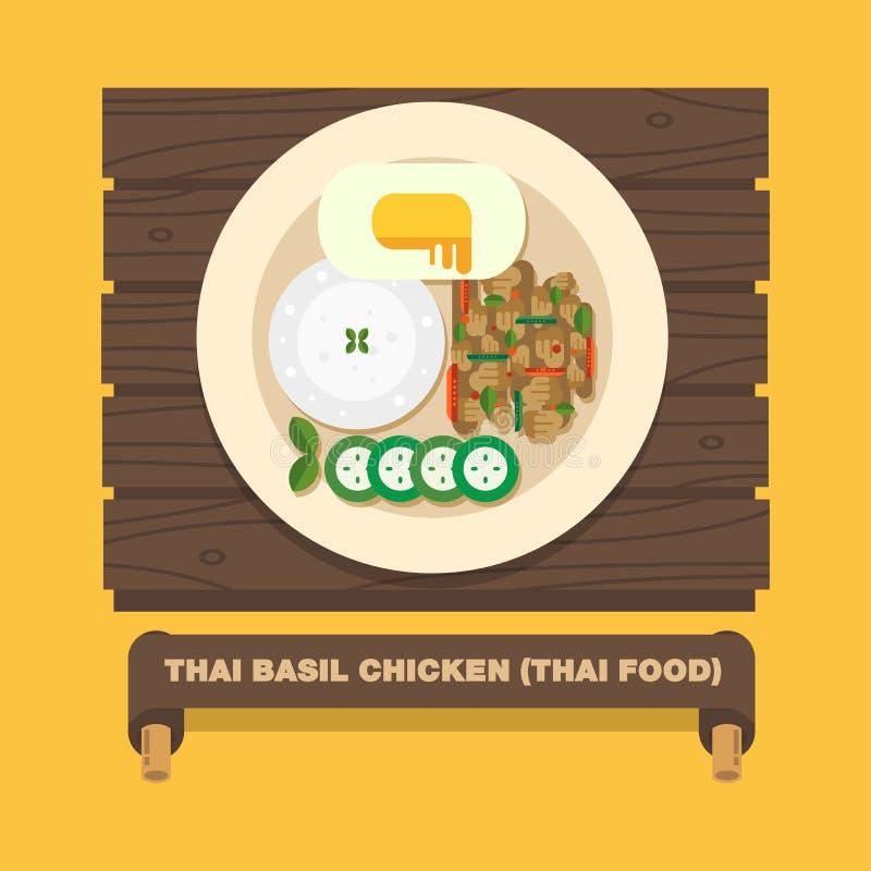 Os pratos nacionais de Tailândia, Basil Chicken tailandês (gai de Kra Pao da almofada) ilustração stock
