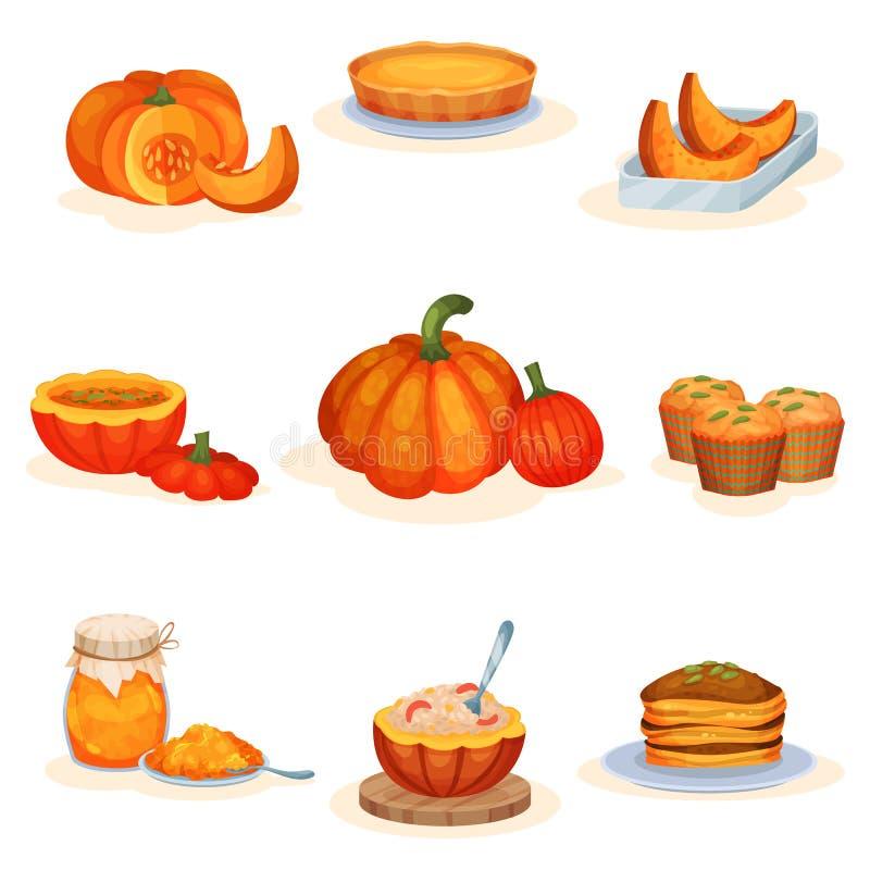 Os pratos saborosos da abóbora ajustaram-se, torta, sopa, frasco do doce, queque, papa de aveia, ilustrações do vetor das panquec ilustração royalty free
